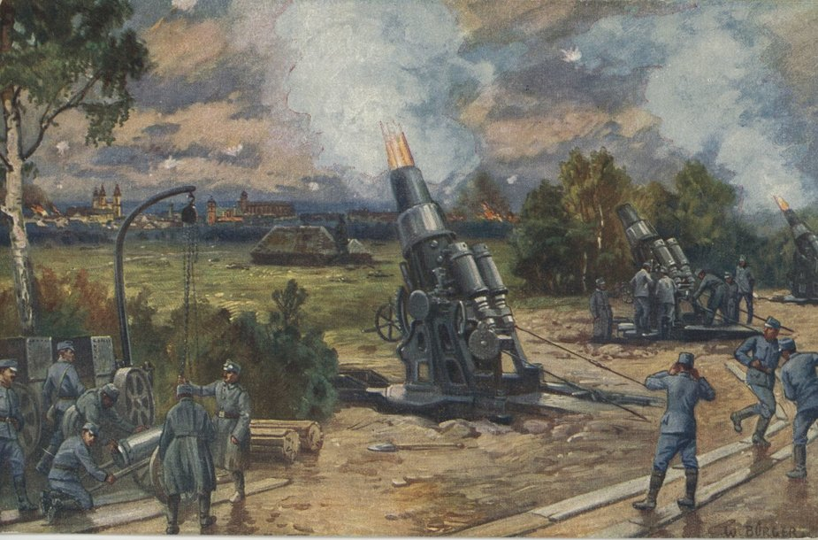 Vokiečių 305 mm mortyrų baterija apšaudo Kauno tvirtovės fortus ir įtvirtinimus. 1915 m. rugpjūčio 15 d.