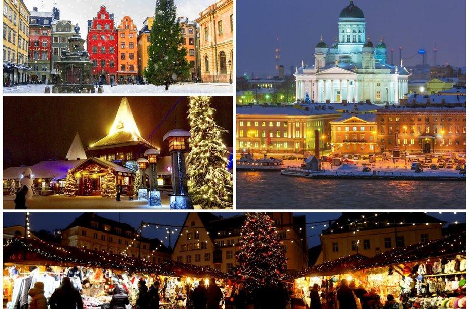 Kalėdiški Šiaurės šalių miestai