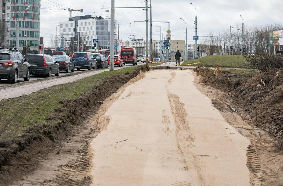 Vilniuje tiesiamas naujas dviračių takas.