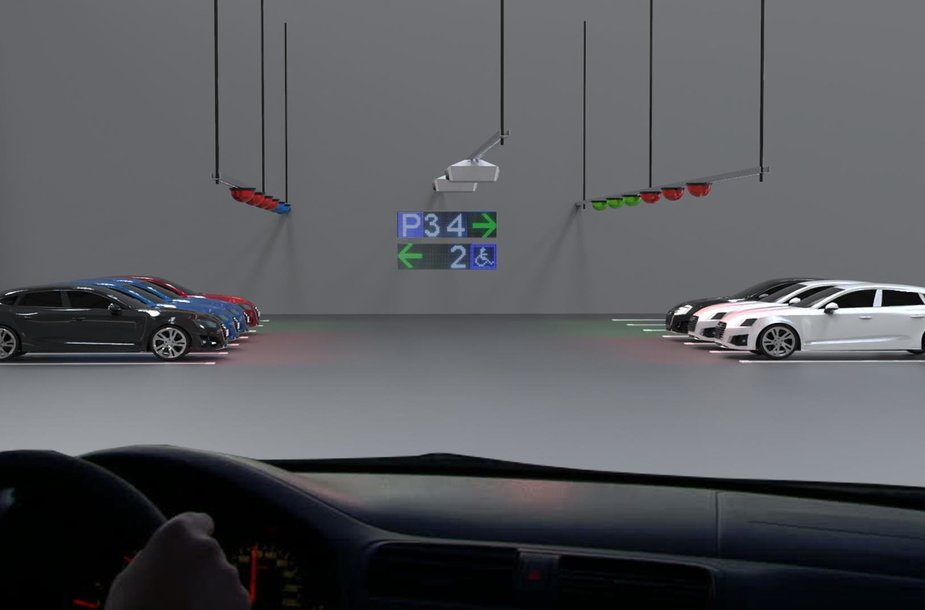 Car parking guidance system with video analytics and LPR in an indoor parking lot. The camera monitors the use of up to 6 parking spaces and transmits it to the Parksol system.