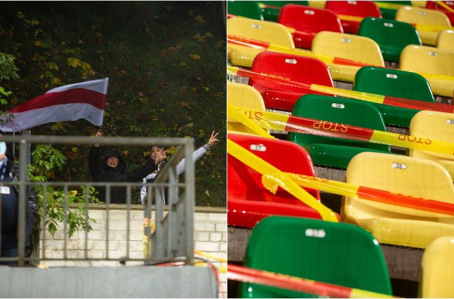 Baltarusijos vėliavos liko už LFF stadiono vartų
