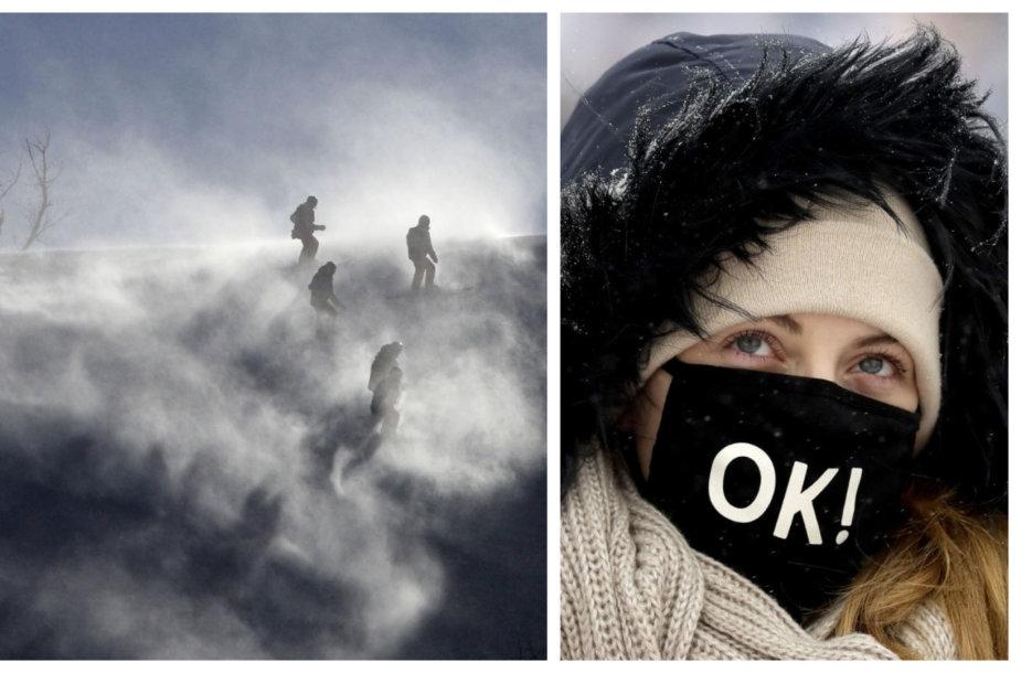 Stiprus vėjas ir šaltis siautėja Pjongčange, kur vyksta žiemos olimpinės žaidynės.