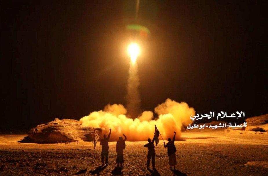 Husių sukilėlių išplatinta nuotrauka, vaizduojanti raketos paleidimą