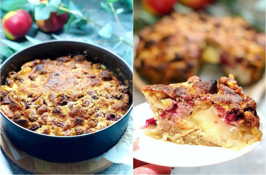 Obuolių pyragas su avietėmis ir marcipanu