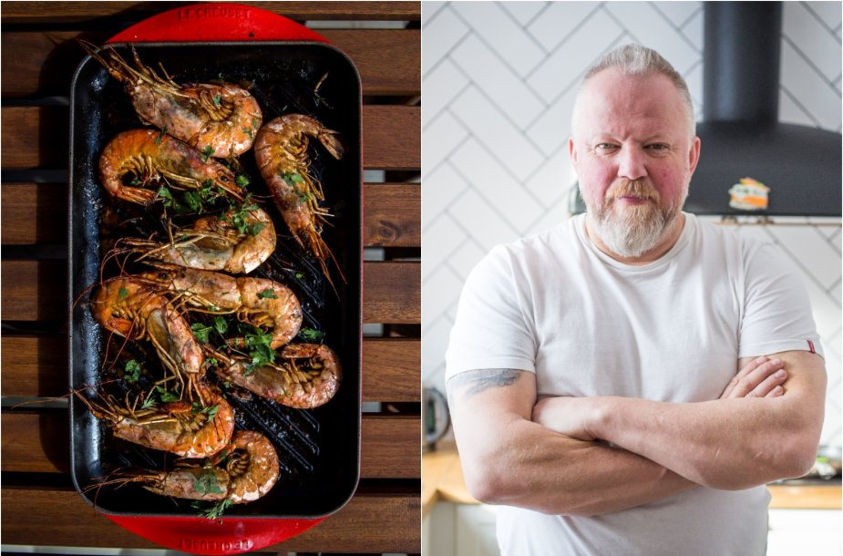 Vytaras Radzevičius ir ant grilio keptos krevetės