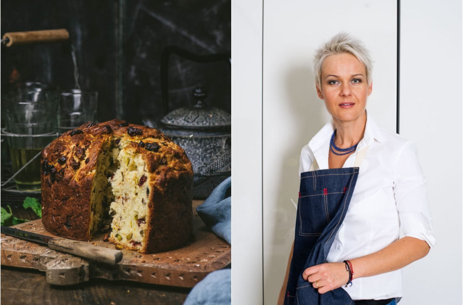 Nida Degutienė ir jos keptas pyragas