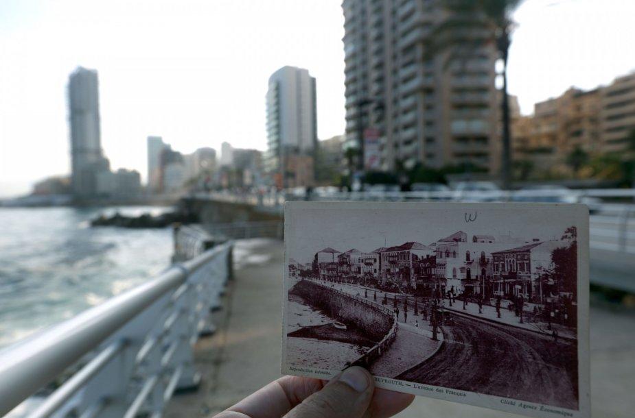 Beirutas dabar ir 1925 metų atvirutėje