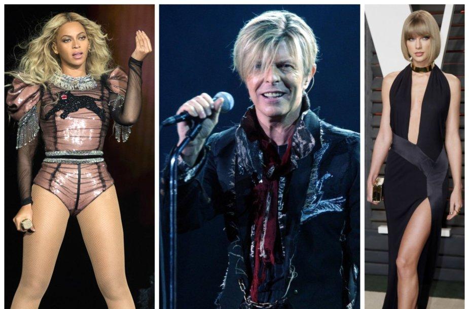 Beyonce, Davidas Bowie, Taylor Swift