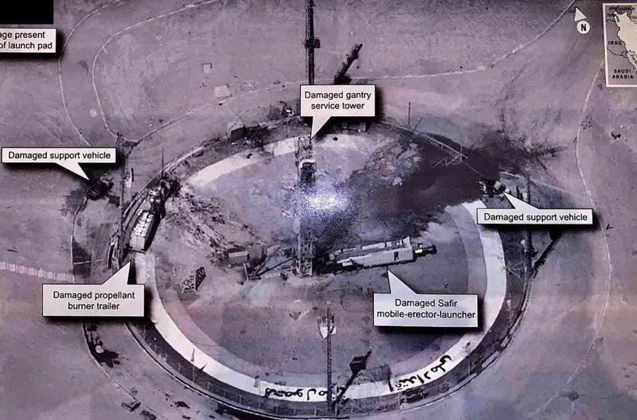 Gaisro apgadinta Irano kosminio centro aikštelė