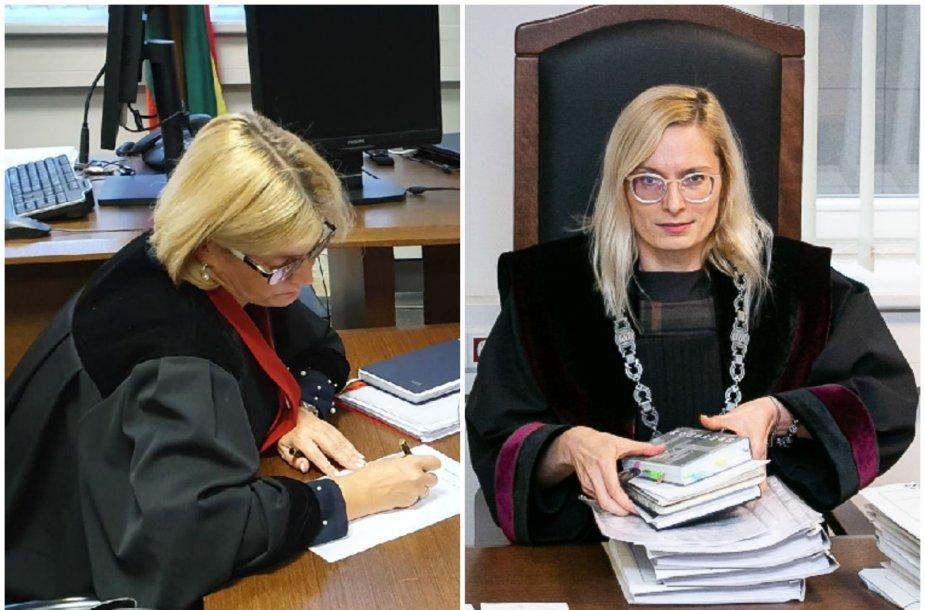 Prokurorė J.Karčinskienė (kairėje) jokio kaltinamojo akto broko neįžvelgė, tačiau pamatinį bylos dokumentą kritiškai įvertino teisėja K.Grinevičiūtė.