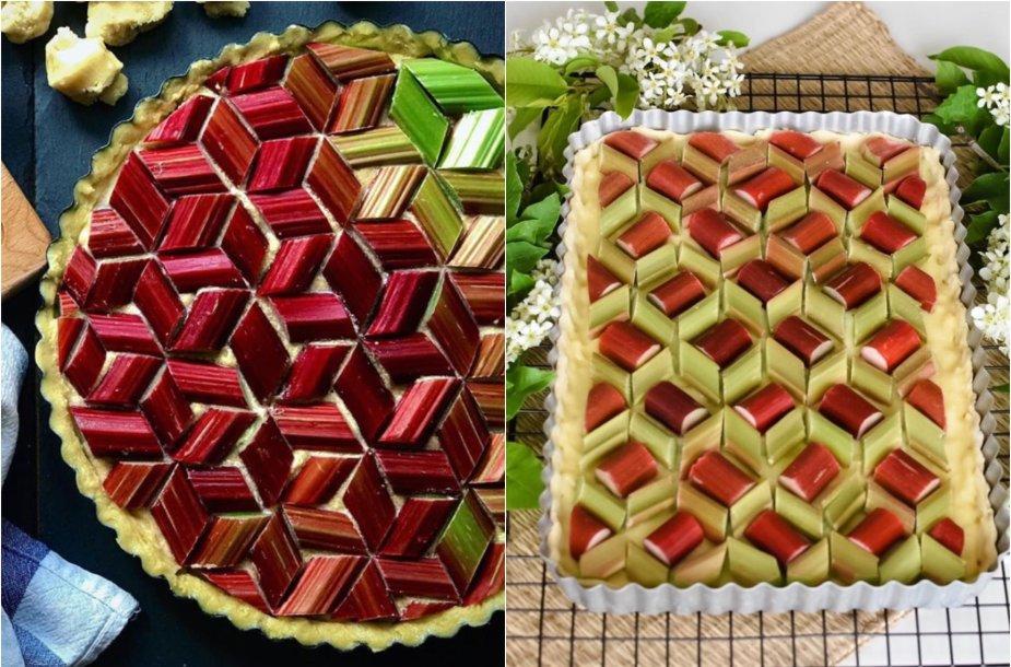 Mozaikomis puošti rabarbarų pyragai
