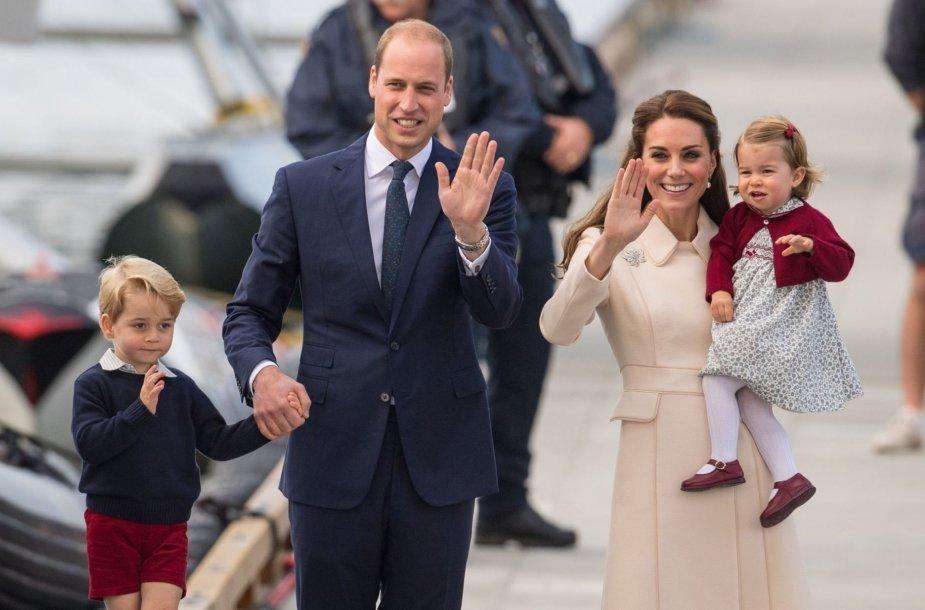 Princas Williamas ir Kembridžo hercogienė Catherine su vaikais
