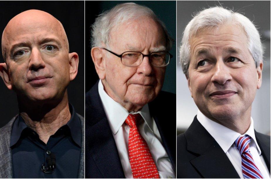 Jeffas Bezosas, Warrenas Buffettas, Jamie Dimonas