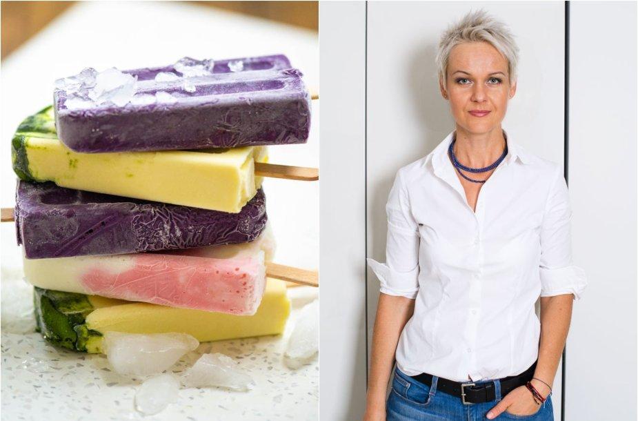 Nida Degutienė ir jos gaminti 3 skonių naminiai ledai