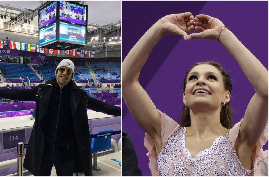 Deividas Stagniūnas Pjongčange palaiko savo naują meilę Kavitą Lorenz.
