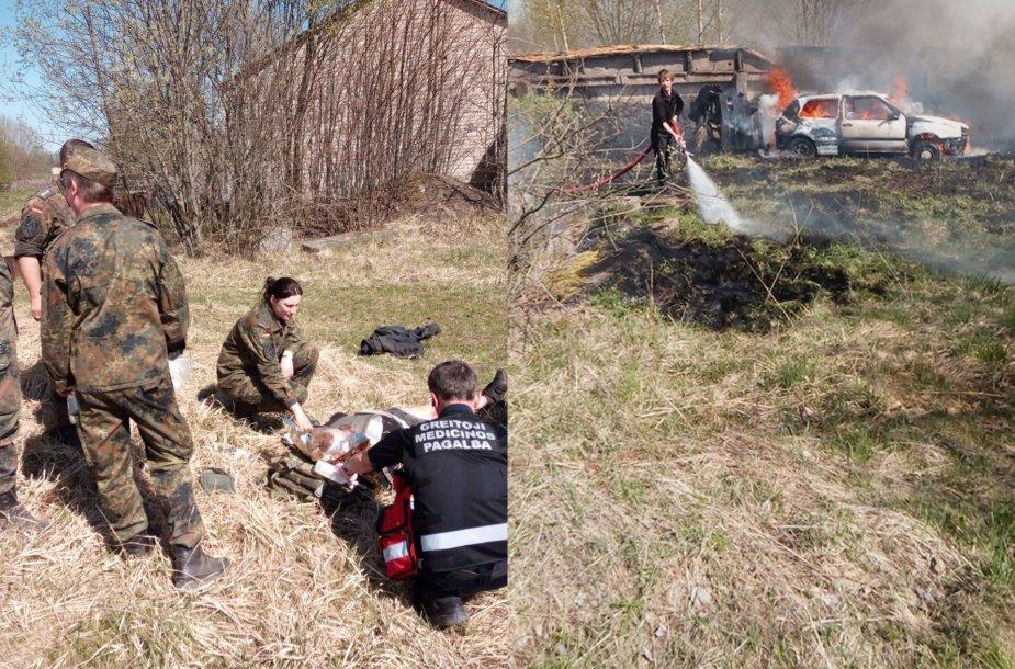 Molėtų rajone vietiniai gyventojai iš degančios mašinos išgelbėjo vyrą