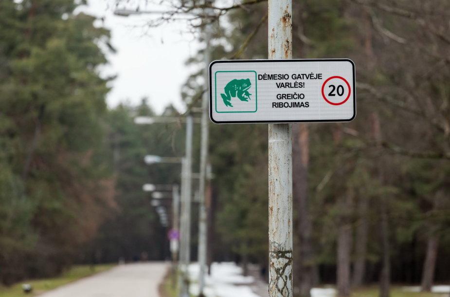 """Kelio ženklas – """"Dėmesio, gatvėje varlės!"""""""