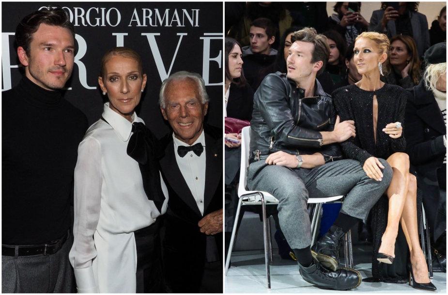 Dainininkė Celine Dion ir šokėjas Pepe Munoz. Centre – dizaineris Giorgio Armani.