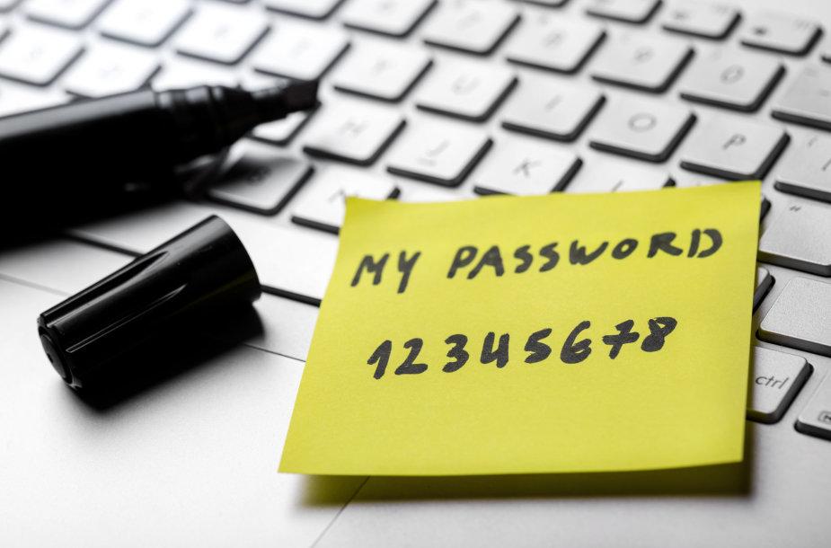 Blogiau už silpną slaptažodį yra tik visoms paskyroms naudojamas silpnas slaptažodis, užrašytas ant popierėlio, priklijuoto viešai matomoje vietoje