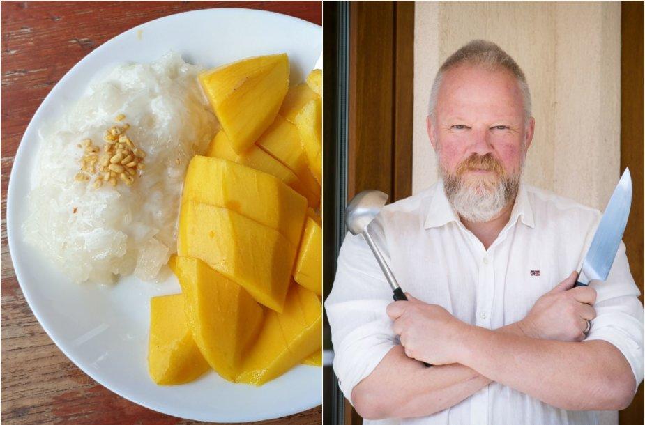 Vytaras Radzevičius ir jo gamintas lipnių ryžių ir mango desertas