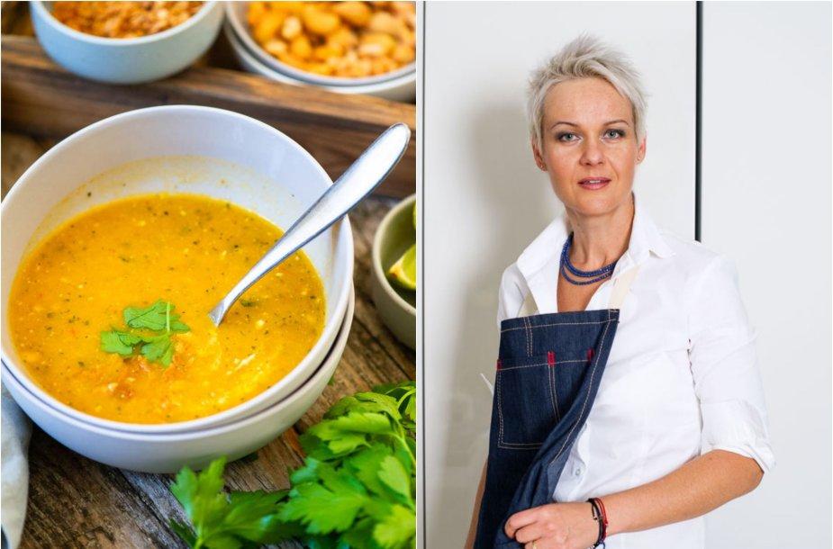Nida Degutienė ir jos virta tailandietiška cukinijų sriuba