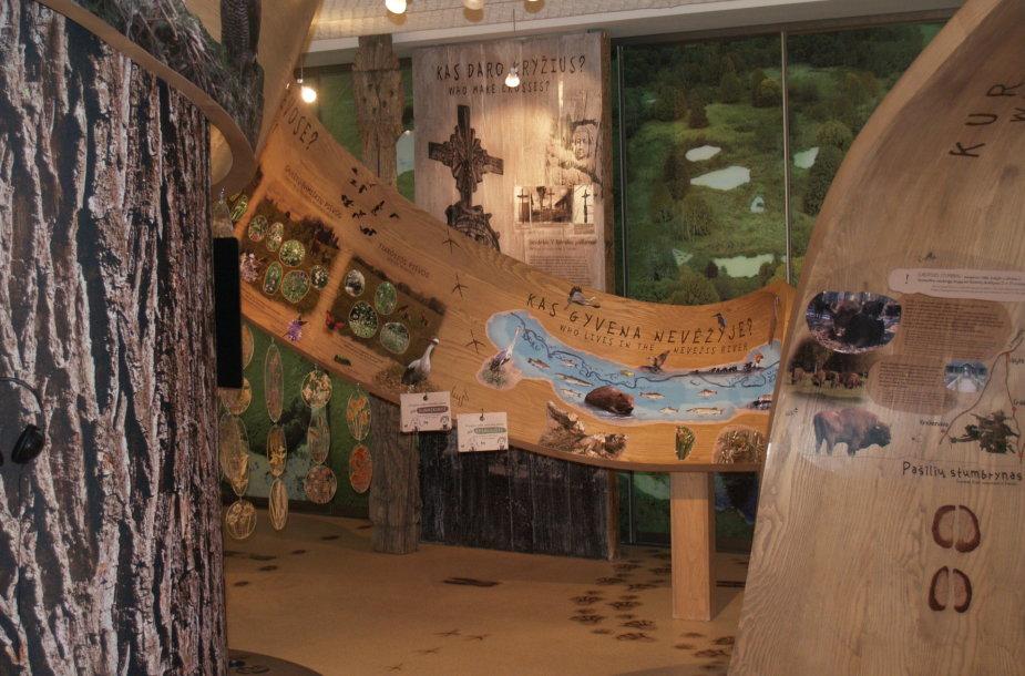Lankytojų centro ekspozicijoje Nevėžio vingiai vaizduojami per visą salę vingiuojančia medžio juosta, ant kurios pateikiama informacija apie lankytinus objektus ir kitas parko įdomybes. Organizatorių nuotr.