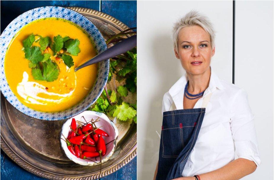 Nida Degutienė ir jos virta trinta moliūgų sriuba su riešutų sviestu