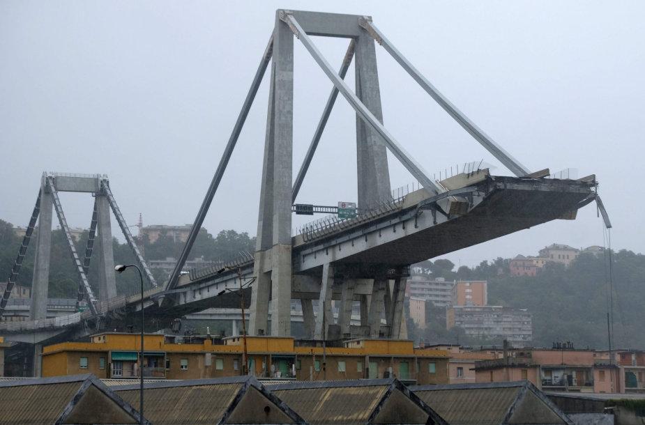 Vienas Ponte Morandi tilto sektorius ties Genuja subyrėjo 2018 m. rugpjūtį
