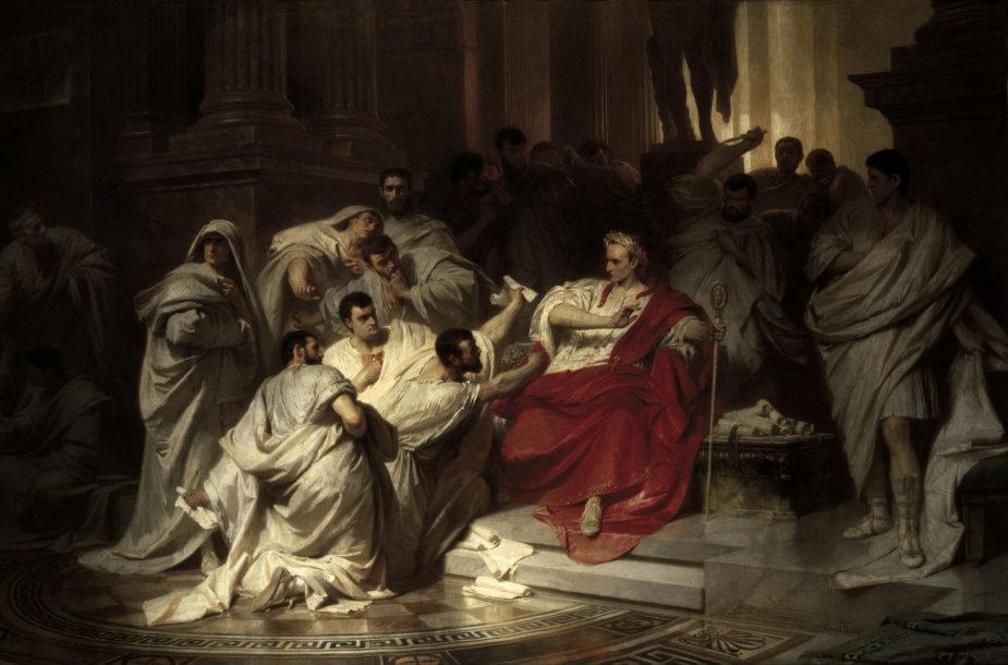 """1865 m. nutapytas Karlo von Piloty paveikslas """"Cezario nužudymas"""""""