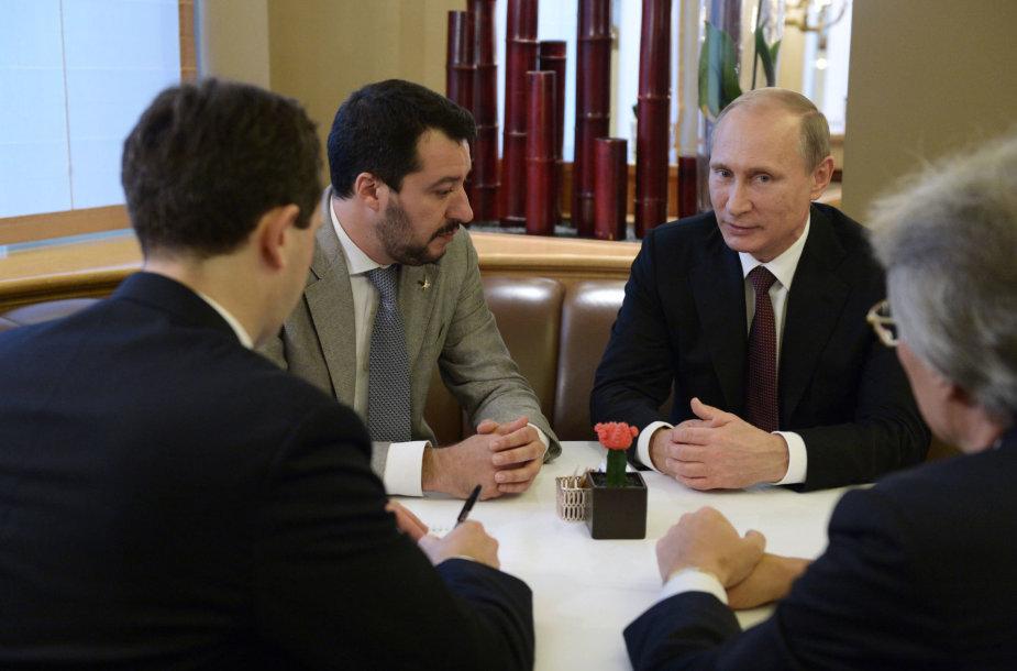 Matteo Salvini ir Vladimiras Putinas Milane 2014 metais