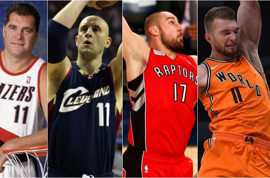 """Lietuviai NBA """"All-Star"""" savaitgalyje: Arvydas Sabonis, Žydrūnas Ilgauskas, Jonas Valančiūnas, Domantas Sabonis"""