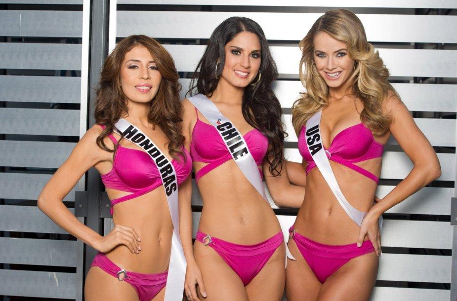 """""""Mis Hondūras"""" Iroshka Elvir, """"Mis Čilė"""" Maria-Belen Jerez ir """"Mis JAV"""" Olivia Jordan"""