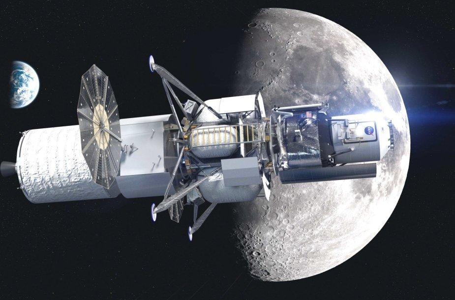 """Taip galėtų atrodyti """"Blue Origin"""" erdvėlaivio, gabenančio įgulą į Mėnulį, projektas"""