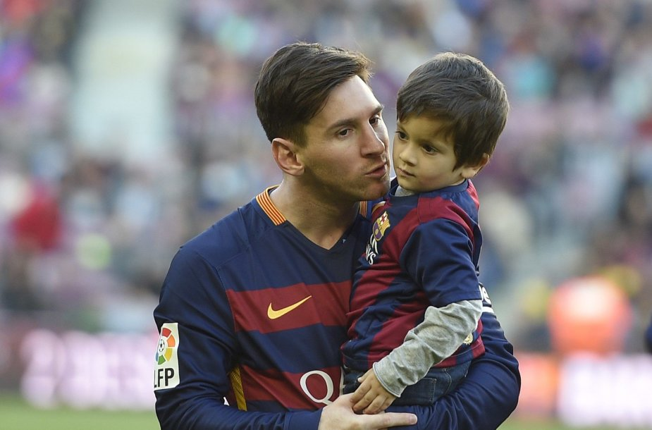 Lionelis Messi ir jo vyresnysis sūnus Thiago