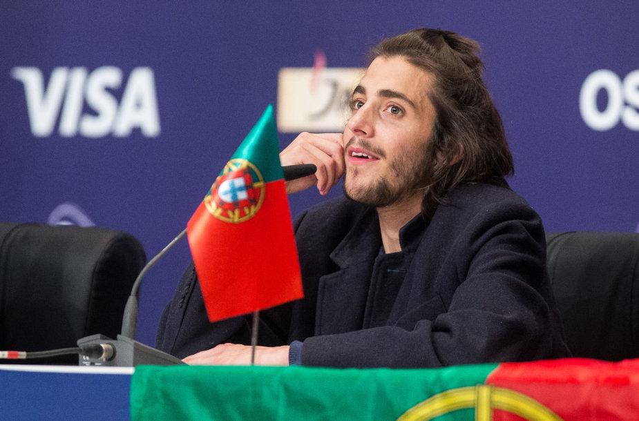 """""""Eurovizijos"""" nugalėtojo Salvadoro Sobralo  spaudos konferencija"""