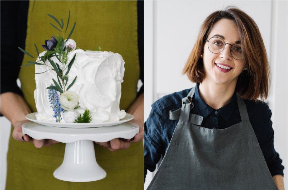 Laura Donėlė ir jos įkurtoje studijoje ruoštas tortas