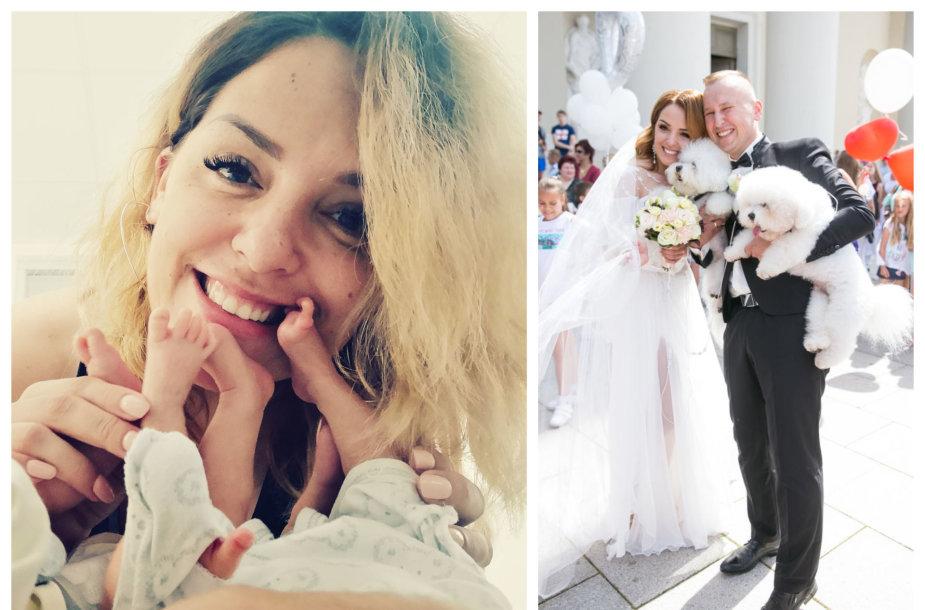 Viktorija Nenartovič su savo dvynukais; akimirka iš vestuvių