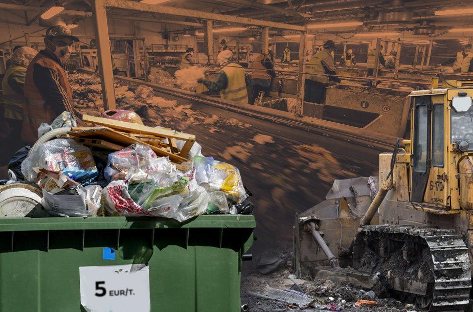 Iš atliekų išrūšiuotas kietasis atgautasis kuras keliauja į sąvartyną