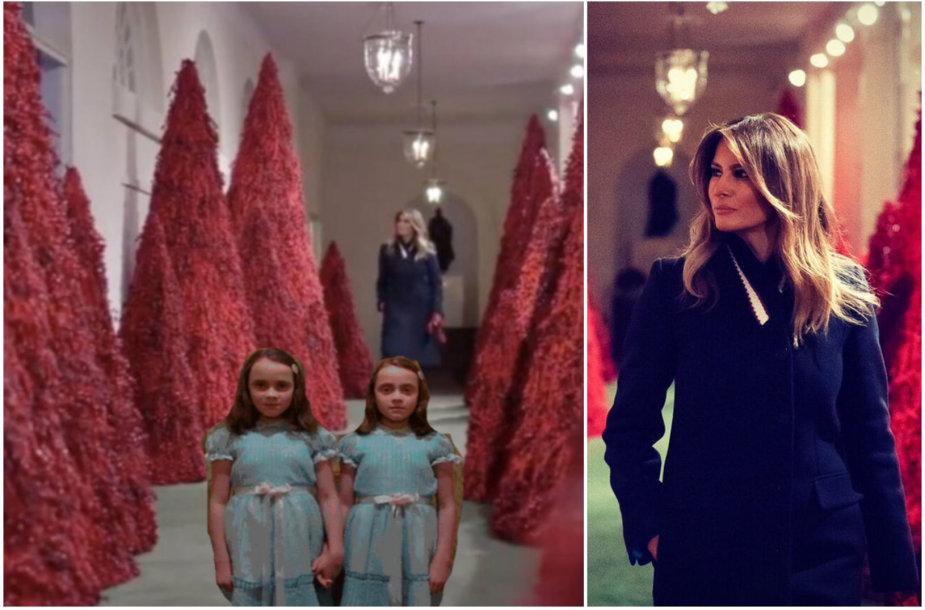 Melanios Trump Kalėdoms papuošti Baltieji rūmai