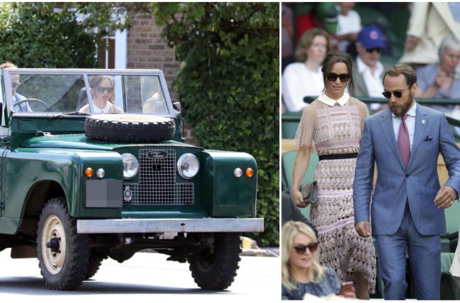 """Pippa Middleton su broliu į Vimbldono turnyrą atvažiavo vintažiniu """"Land Rover"""""""