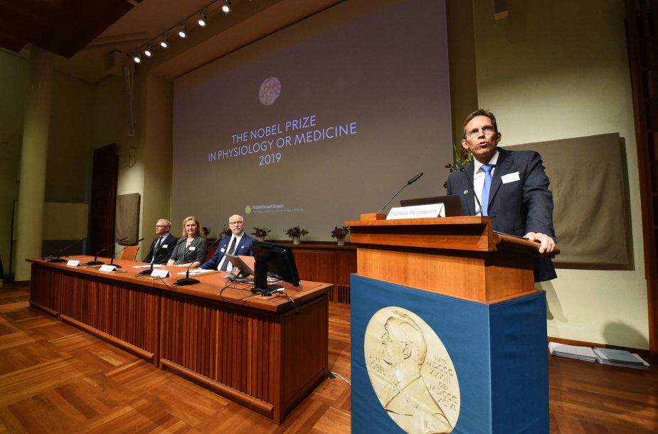 Nobelio komiteto sekretorius Thomas Perlemannas skelbia laureatų pavardes