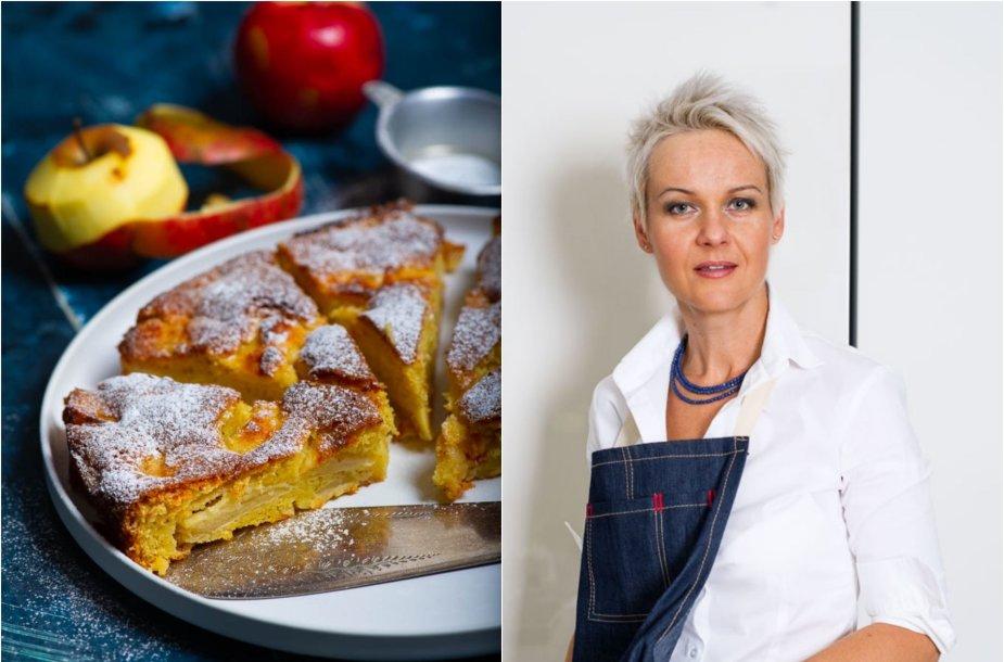 Nida Degutienė ir jos keptas prancūziškas obuolių pyragas