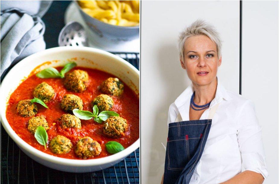 Nida Degutienė ir jos ruošti cukinijų maltinukai pomidorų padaže