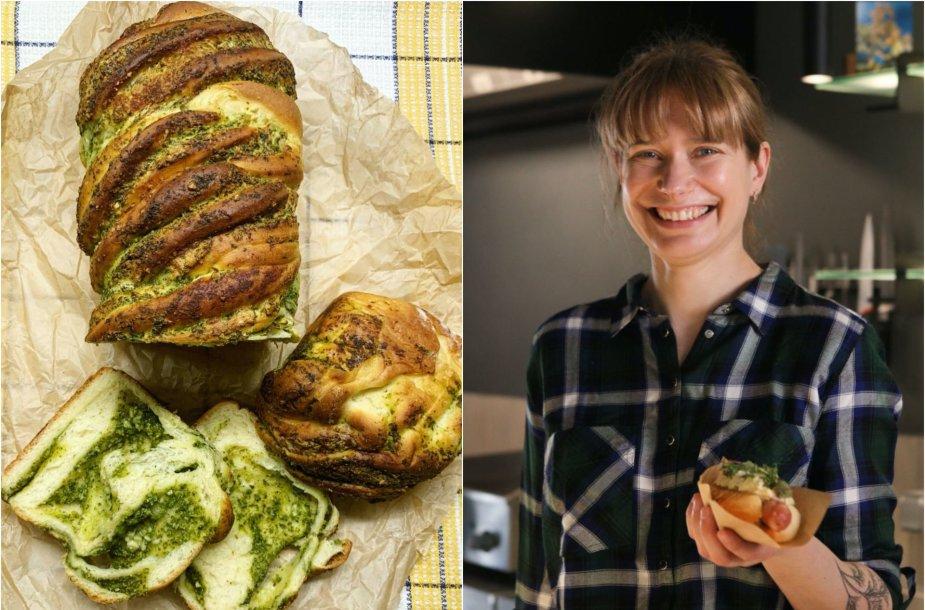 Tinklaraštininkė Laura ir jos kepta duona, įdaryta žolelių pesto padažu
