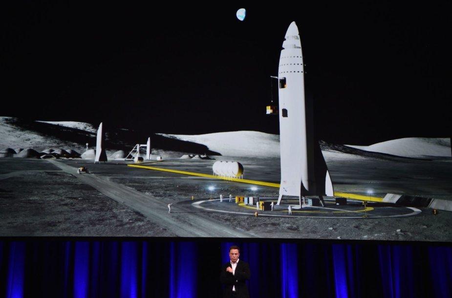"""Štai taip turėtų atrodyti Mėnulyje nusileidusi """"SpaceX"""" raketa"""