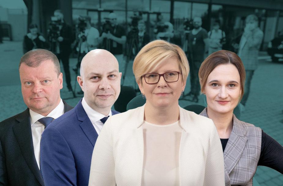 Saulius Skvernelis, Aurelijus Veryga, Ingrida Šimonytė ir Viktorija Čmilytė-Nielsen