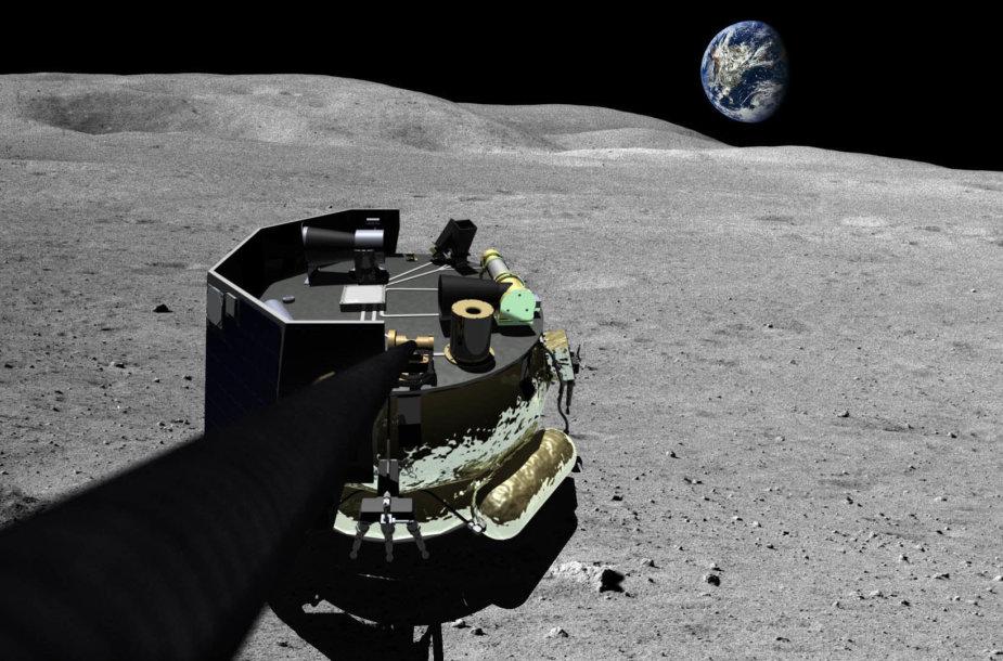 """Taip įsivaizduojamas """"Moon Express"""" aparato, galimai nusileisiančio Mėnulyje, vaizdas"""