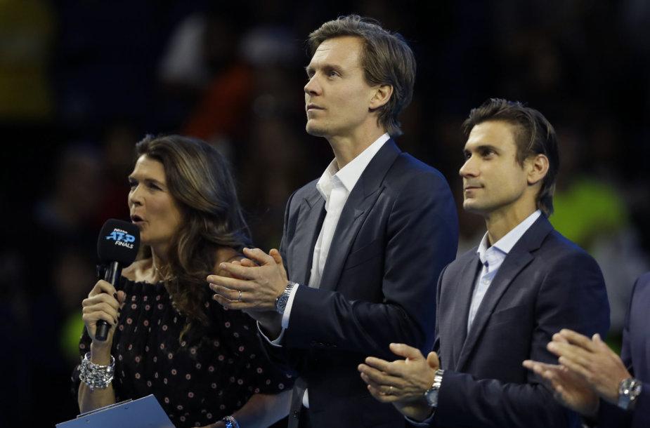 """Tomašas Berdychas ir Davidas Ferreras iškilmingoje ceremonijoje """"Nitto ATP Finals"""" turnyre"""