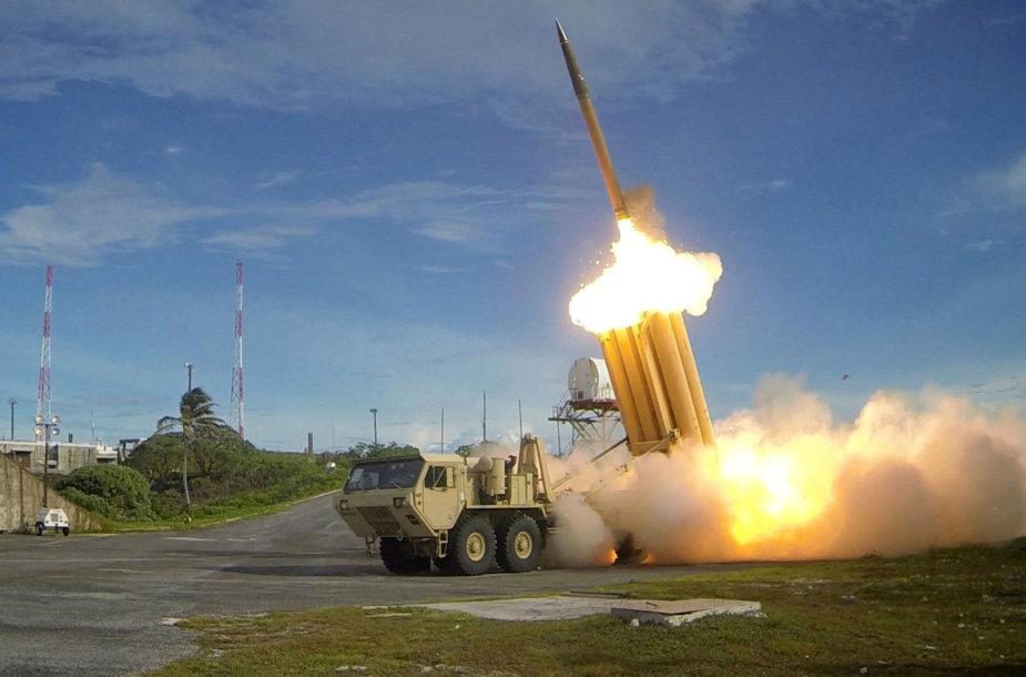 Priešraketinės gynybos sistema THAAD per pratybas