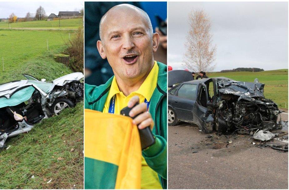 """Romualdas Bakutis kaltinamas sukėlęs avariją Lenkijoje, kuri jo vairuojama """"Škoda"""" (kairėje) susidūrė su priešinga kelio kryptimi važiavusiu """"Opel"""" (dešinėje)."""